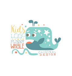 Kids logo original design funny whale bashop vector