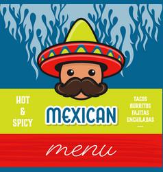 mexican food menu template poster design vector image