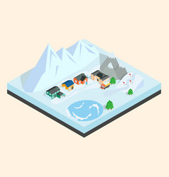mountain town clip art isometric style vector image