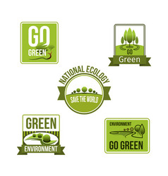 Nature and earth environment eco icons vector