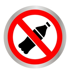 Not to throw plastic bottles sign vector