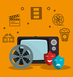 old tv with cinema icons vector image