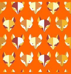 Paper foxes orange seamless pattern vector
