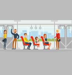 passengers travelling bus people using public vector image