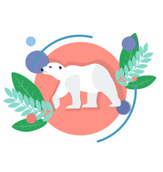 polar animal white bear in minimalist style vector image