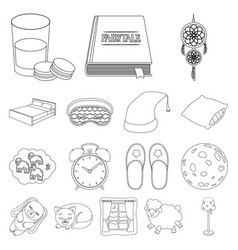 rest and sleep outline icons in set collection for vector image