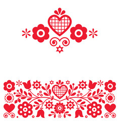 Retro polish floral folk art design set vector