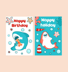 sea cards for children birthday cute baa vector image
