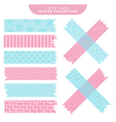 Set of blue and pink washi tape with variant vector