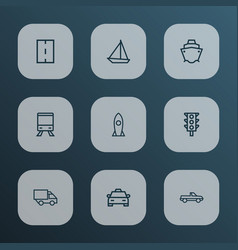 shipment icons line style set with tanker vector image