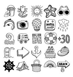 Sketch icon set summer theme vector