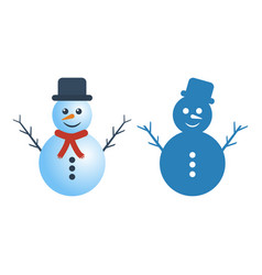 snowman in two versions on white background vector image