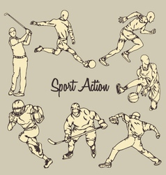 Sport Action Vintage Drawing Style vector