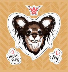 sticker glamorous dog russian toy terrier small vector image