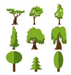 stylized green tree icon cartoon isolated set vector image