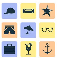 summer icons set with fresh juice umbrella vector image