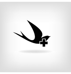 Swallow with a cross Logo for medical centers and vector image