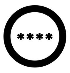 symbol enter password icon black color in circle vector image