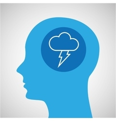 Symbol weather icon silhouette head and cloud vector