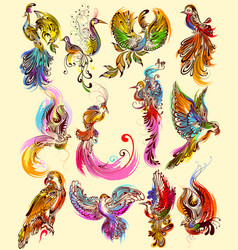 tattoo art design of bird collection vector image