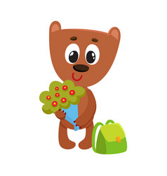 teddy bear student character with backpack holding vector image
