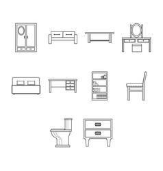 thin line furniture icon set vector image