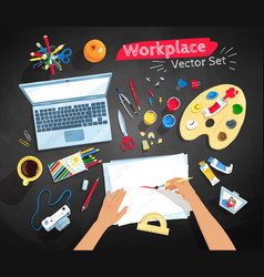 Top view set of artist workplace vector