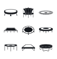 trampoline jumping park icons set simple style vector image