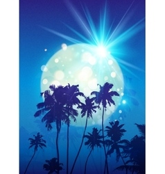 Turquoise shining moon with black palm trees vector image