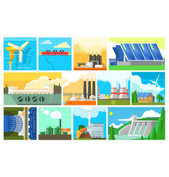 Types of electricity generation plants and vector