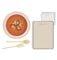 typical spanish food gazpacho notebook recipe vector image