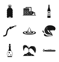 Water supply icons set simple style vector