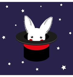 White Rabbit in Magician Hat vector