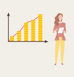 woman presenting chart with columns graph vector image