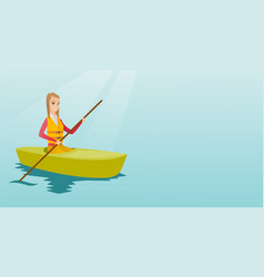 Young caucasian woman travelling by kayak vector