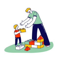 Young man and little boy with autism syndrome vector