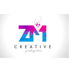 Zm z m letter logo with shattered broken blue vector