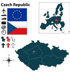 Czech Republic and European Union map vector image vector image