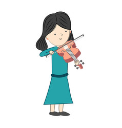 girl playing violin isolated on white background vector image
