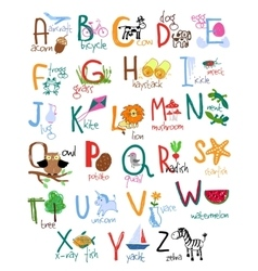 Hand drawn kids alphabet vector image