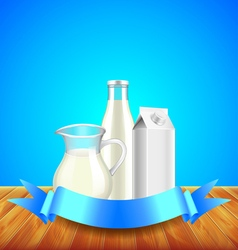 Milk with ribbon for text on wooden table blue vector image