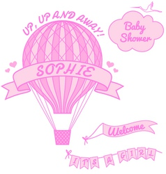 new baby girl with hot air balloon vector image
