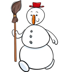 snowman with besom cartoon vector image vector image