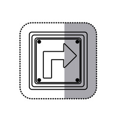 sticker silhouette square frame turn right traffic vector image