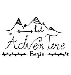hand drawn unique typography design of adventure vector image vector image