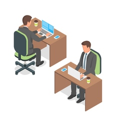 Isometric of businessman working at a computer vector image