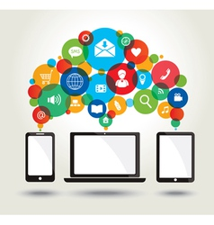 Modern technology and media icons vector image