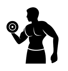 Muscular Man Silhouette Lifting Weights Fitness vector image vector image