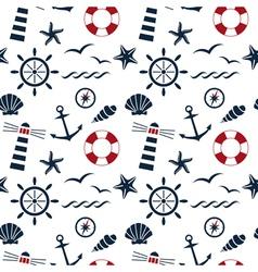 Nautical seamless pattern white vector