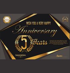 retro vintage anniversary background 5 years vector image vector image